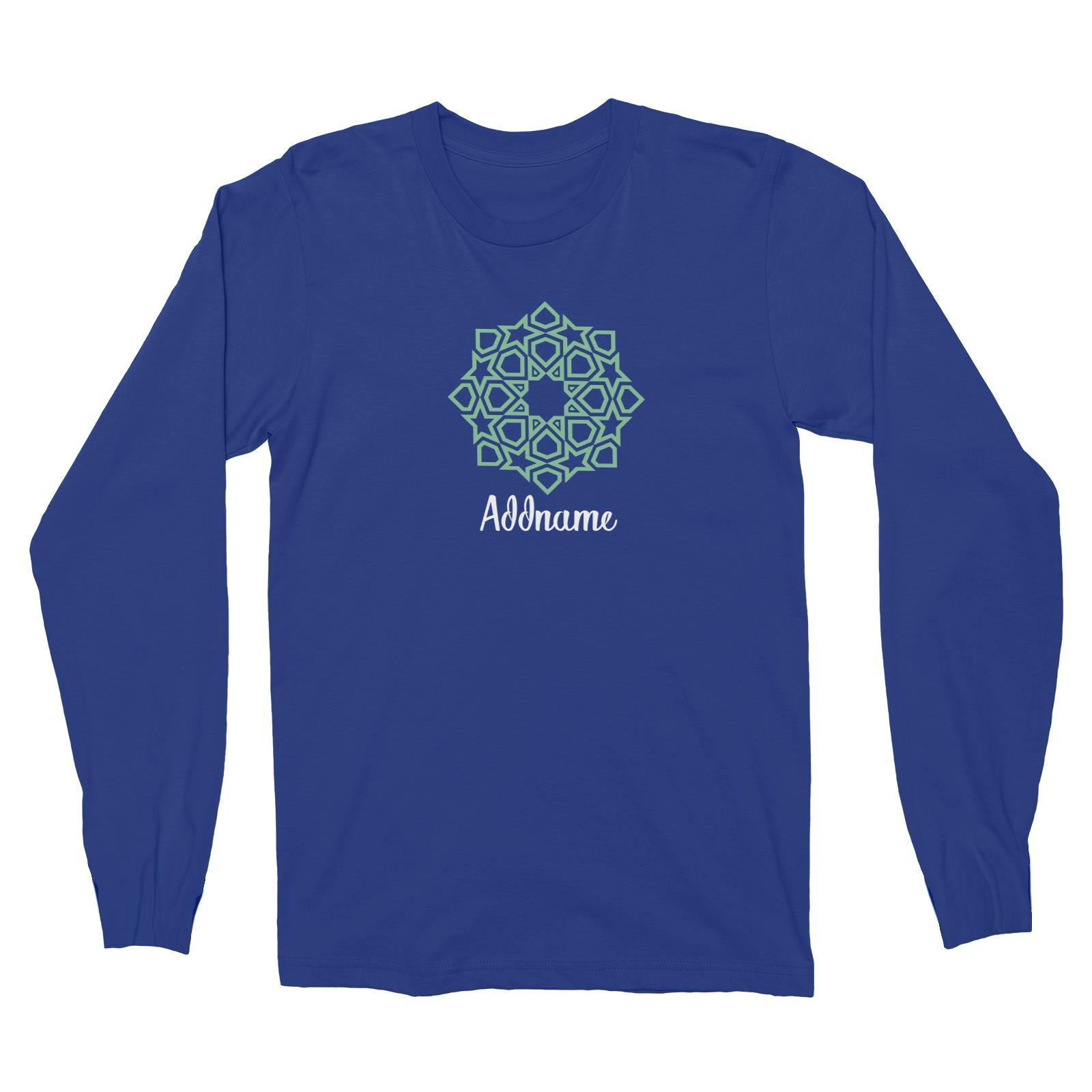 Raya Symbol Green Islamic Geometric Addname Long Sleeve Unisex T-Shirt