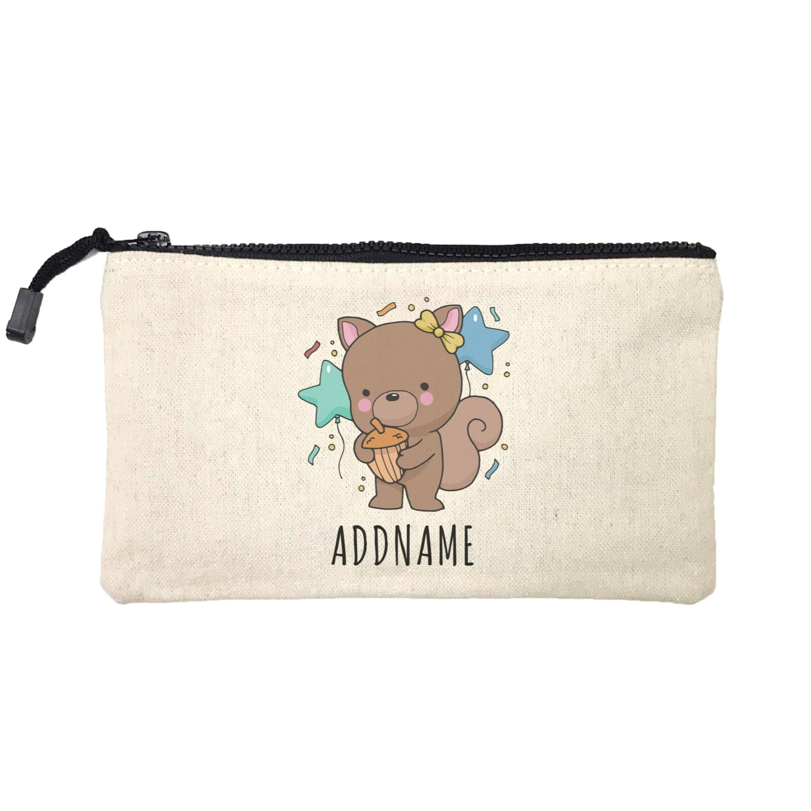 Birthday Sketch Animals Squirrel with Acorn Addname Turns 1 Mini Accessories Stationery Pouch