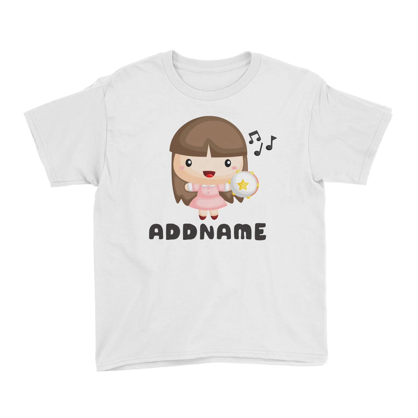 Birthday Music Band Girl Playing Tambourine Addname Kid's T-Shirt