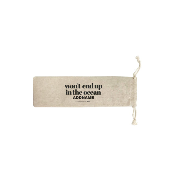 Won't End Up In The Ocean Typography Addname SB Straw Pouch (No Straws included)