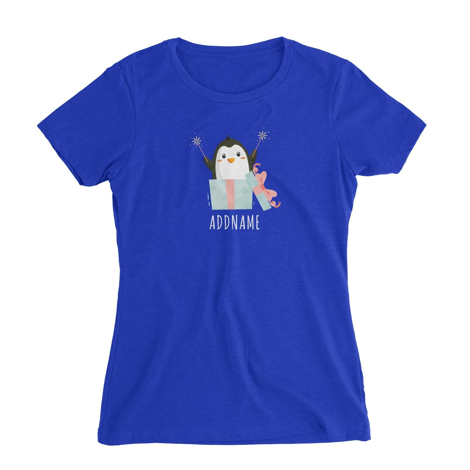 Birthday Cute Penguin Taking Fireworks In Present Box Addname Women's Slim Fit T-Shirt
