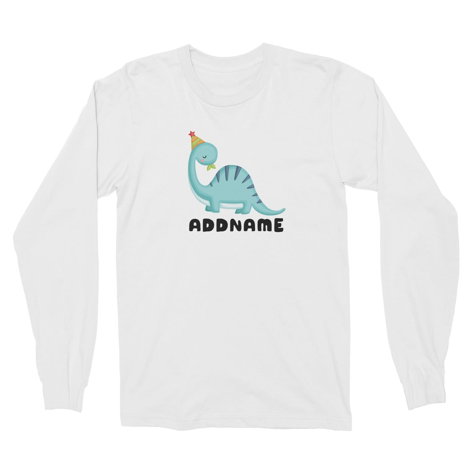 Birthday Dinosaur Happy Blue Long Neck With Party Hat Addname Long Sleeve Unisex T-Shirt