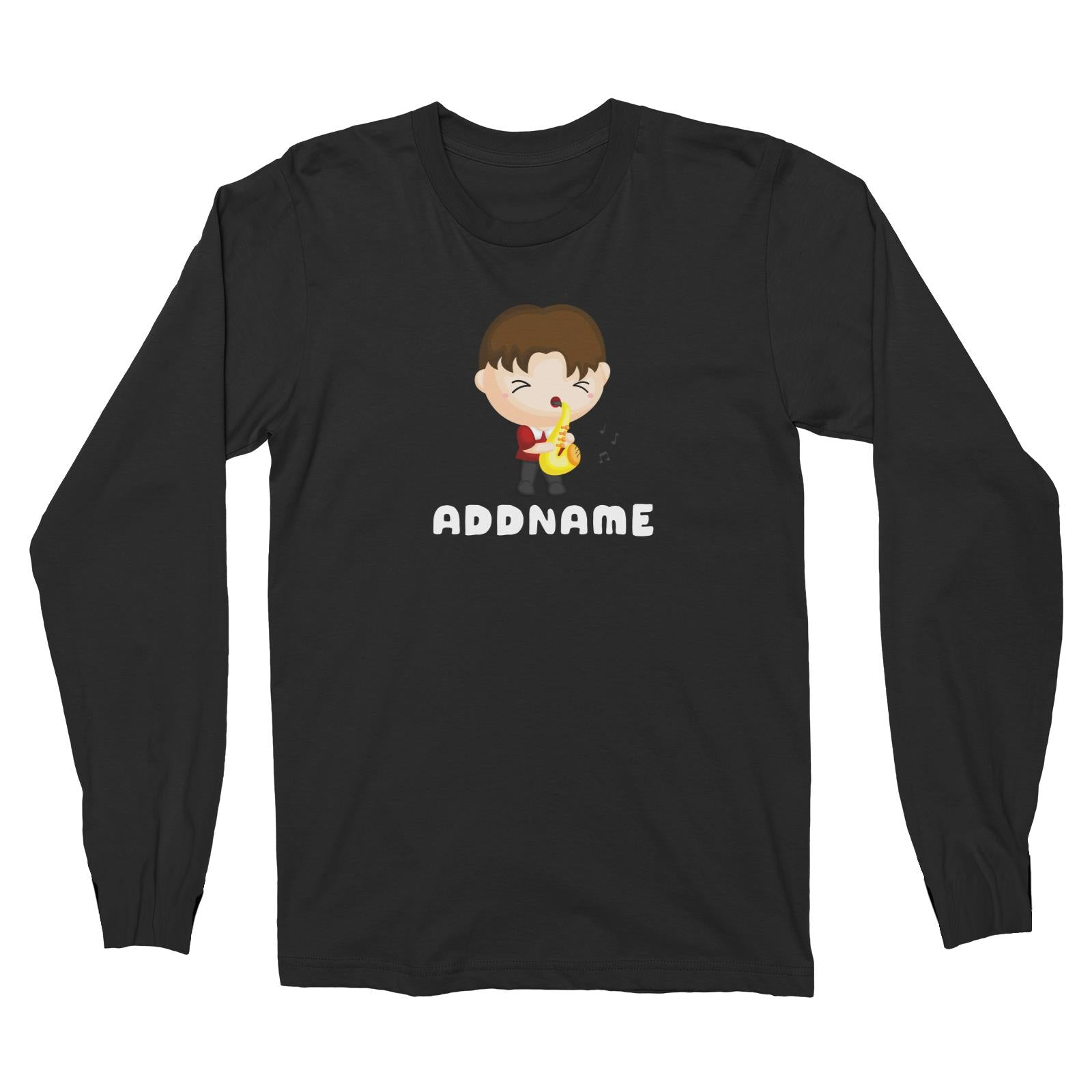 Birthday Music Band Boy Playing Saxophone Addname Long Sleeve Unisex T-Shirt