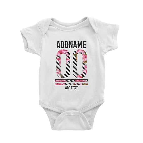 Pink Hibiscus Flower Stripes Jersey Personalizable with Name Number and Text Baby Romper