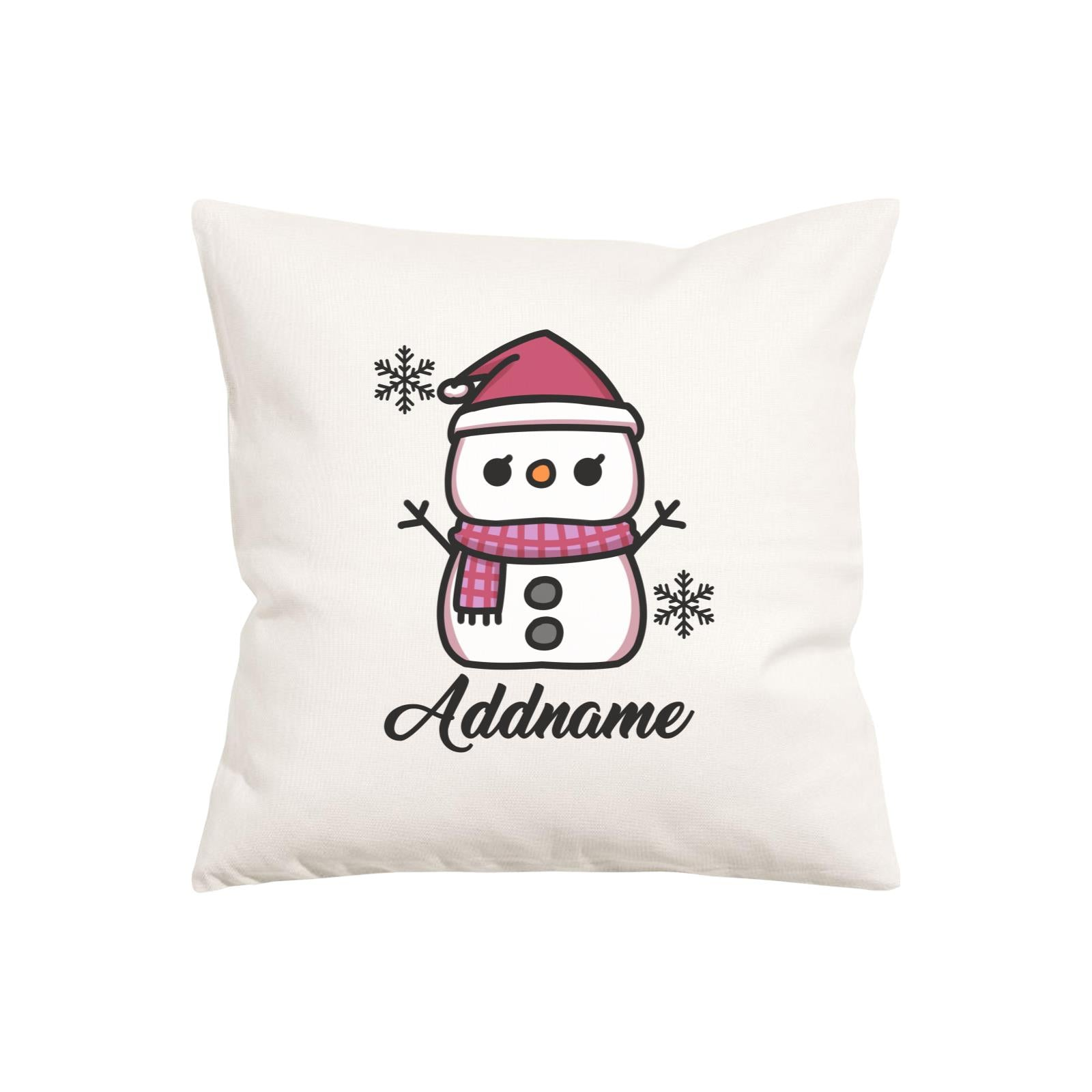 Xmas Little Girl Snowman Pillow Pillow Cushion