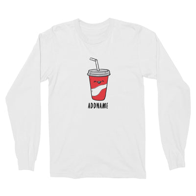 Fast Food Coke Addname Long Sleeve Unisex T-Shirt  Comic Cartoon Matching Family Personalizable Designs