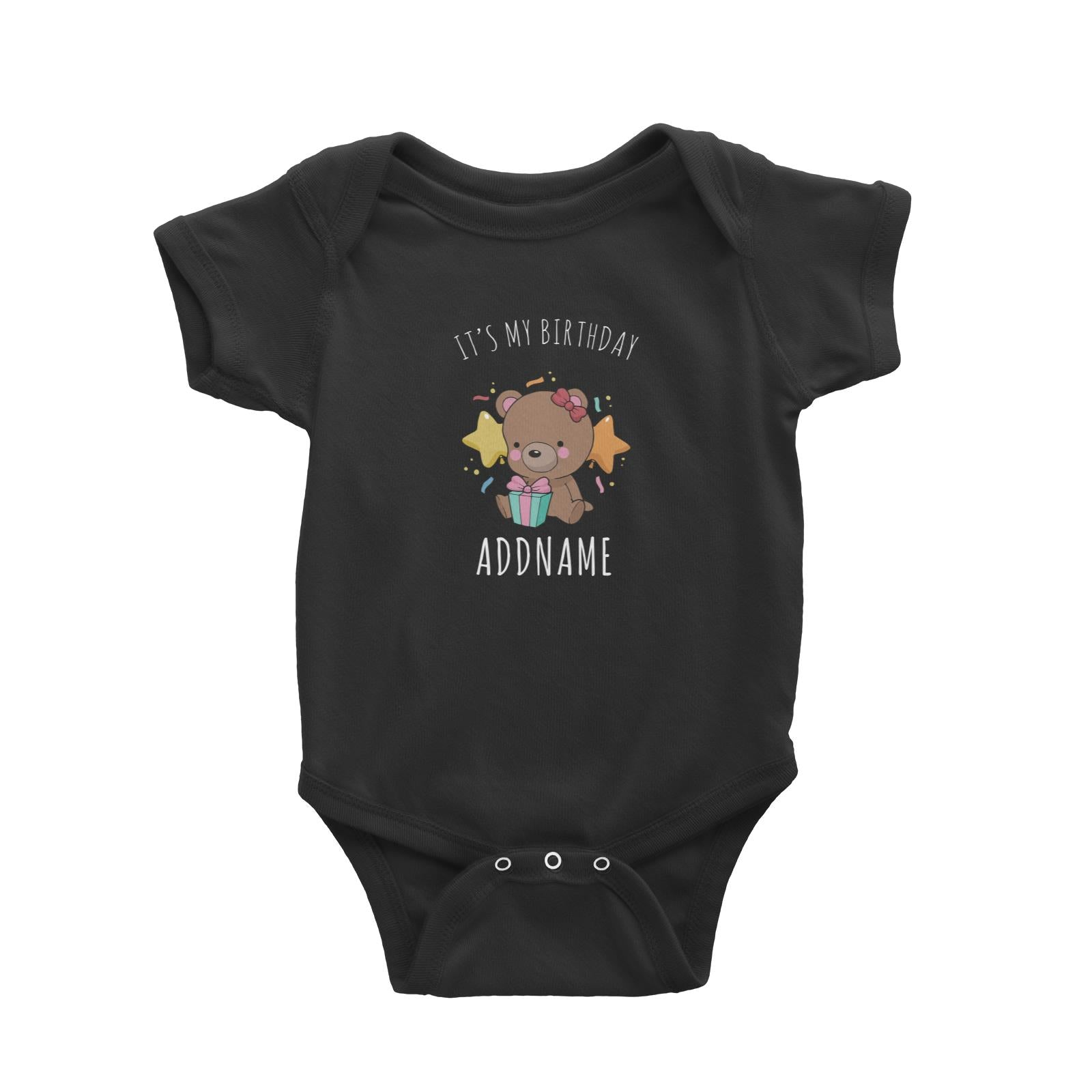 Birthday Sketch Animals Bear with Present It's My Birthday Addname Baby Romper