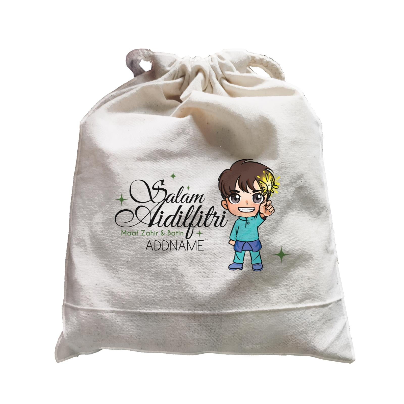 Raya Chibi Wishes Little Boy Addname Wishes Everyone Salam Aidilfitri Maaf Zahir & Batin Accessories Satchel