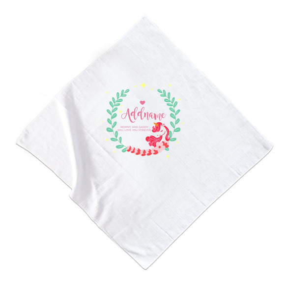 Cute Pink Unicorn with Pastel Green Leaves Wreath Personalizable with Name and Text Muslin Square