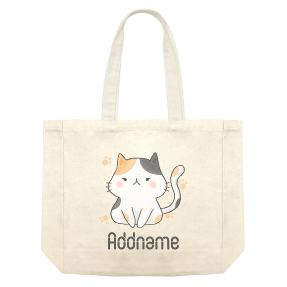 Cute Hand Drawn Style Cat Addname Shopping Bag