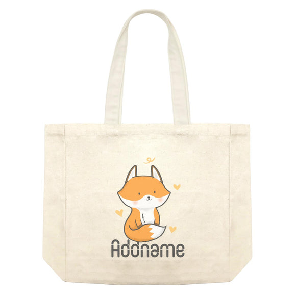 Cute Hand Drawn Style Fox Addname Shopping Bag