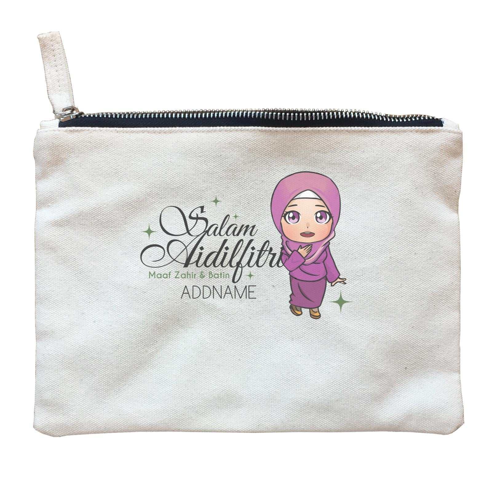 Raya Chibi Wishes Woman Addname Wishes Everyone Salam Aidilfitri Maaf Zahir & Batin Zipper Pouch