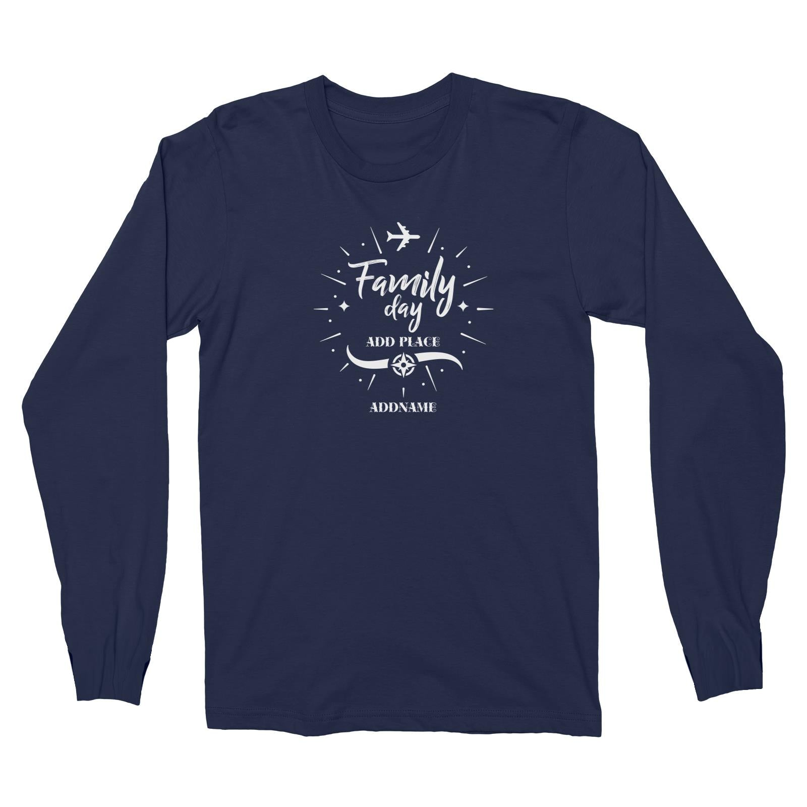 Family Day Flight Plane Icon Family Day Addname And Add Place Long Sleeve Unisex T-Shirt