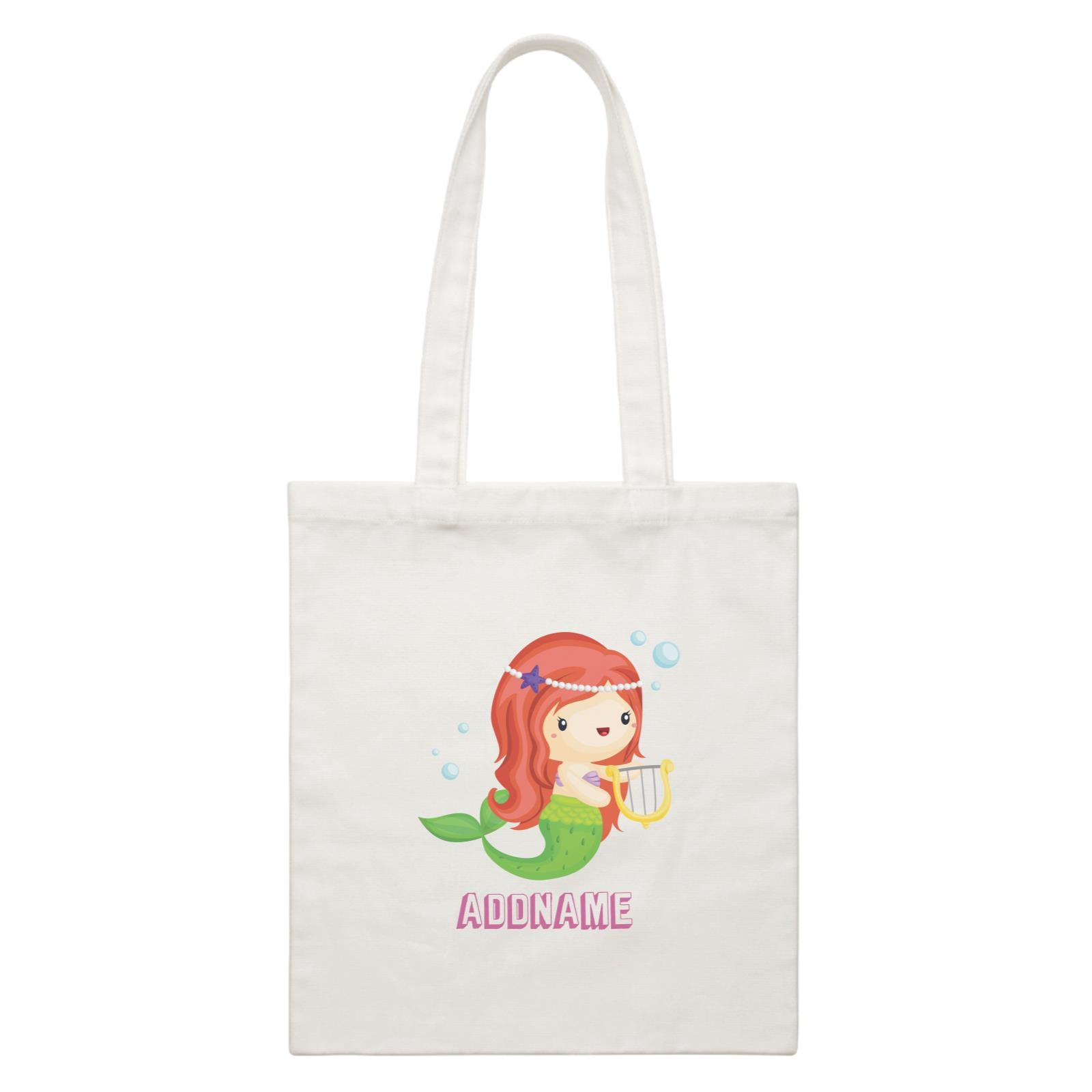 Birthday Mermaid Red Long Hair Mermaid Playing Harp Addname White Canvas Bag