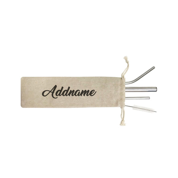 Basic Straw Betty Addname SB 4-In-1 Stainless Steel Straw Set in Satchel