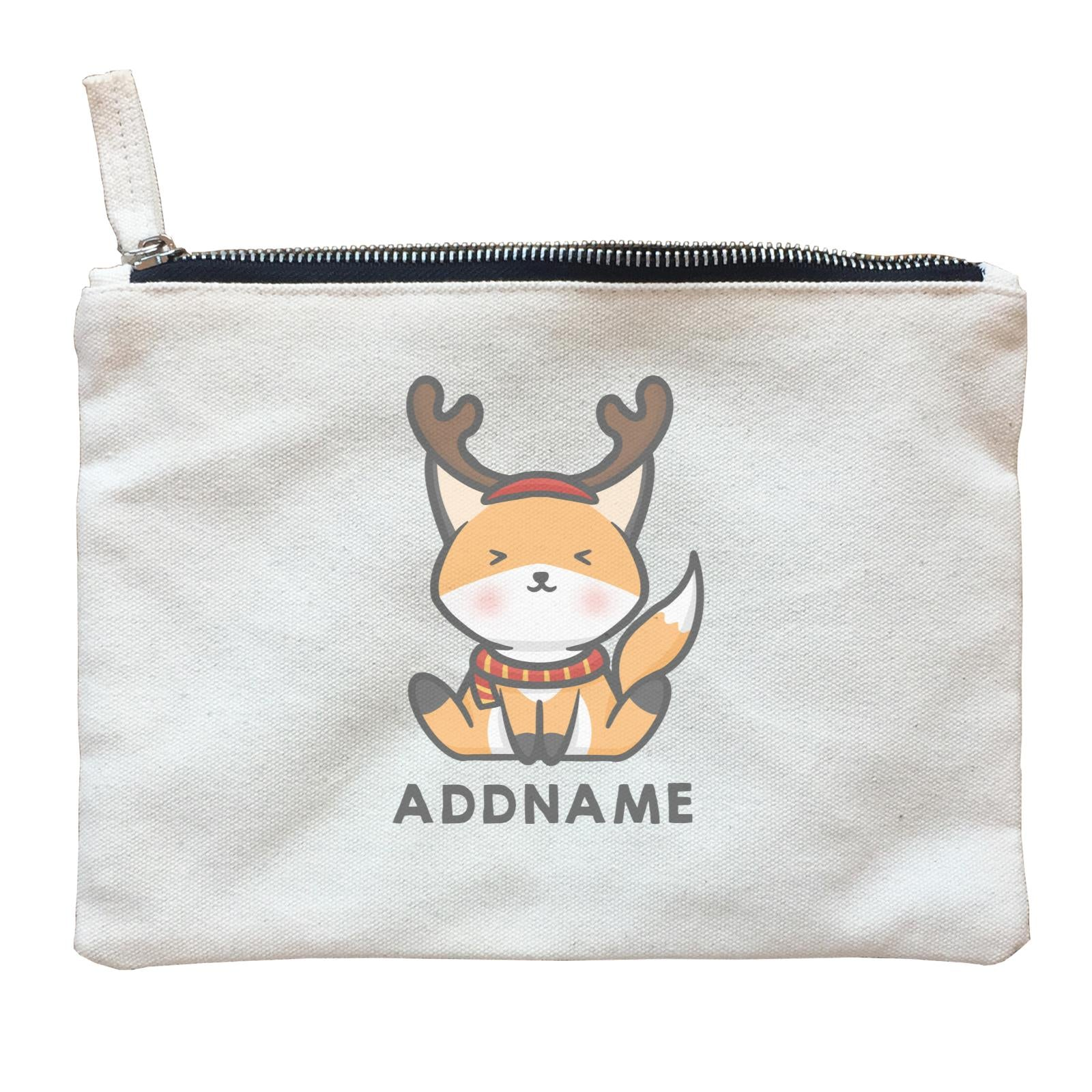 Xmas Cute Fox With Reindeer Antlers Addname Accessories Zipper Pouch