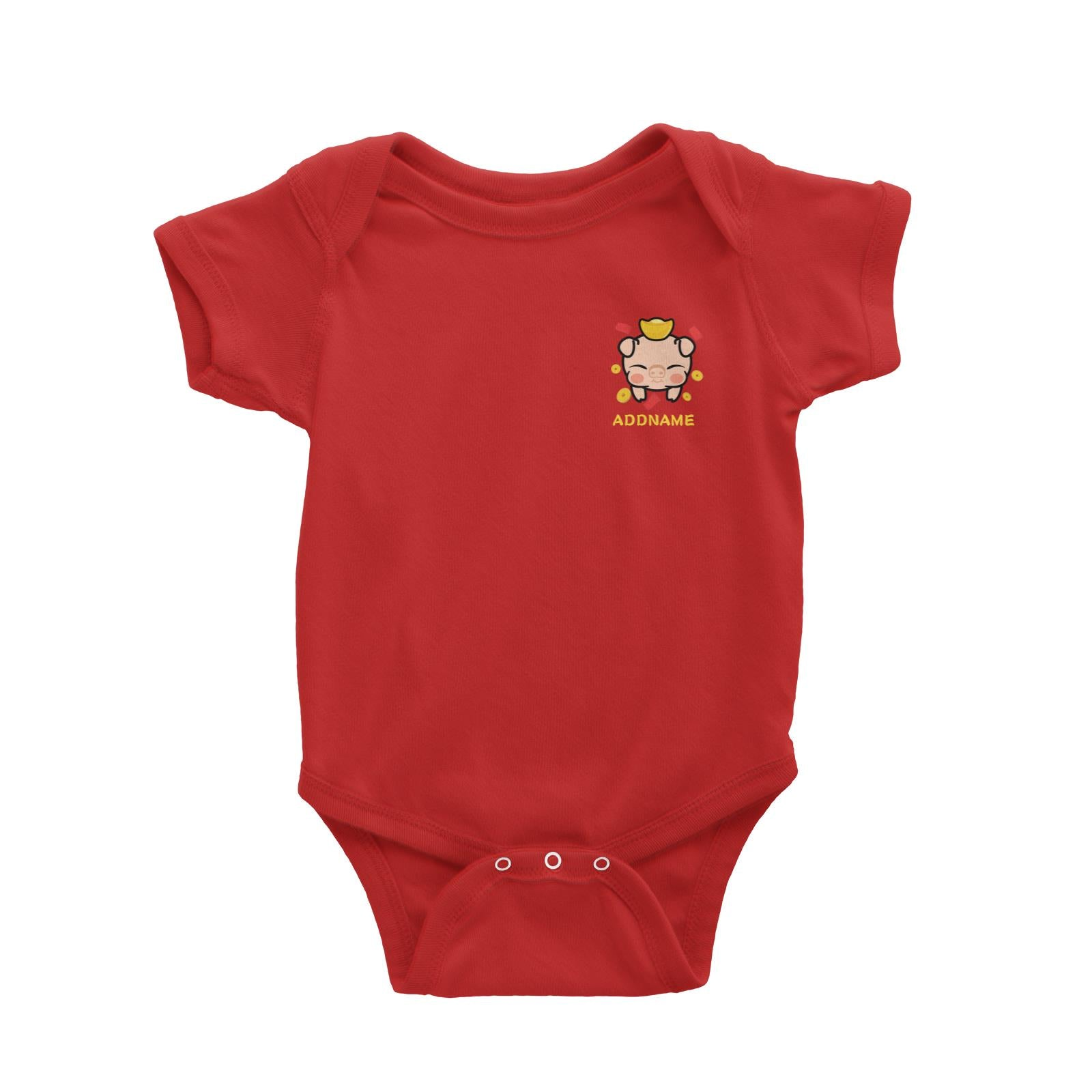 Prosperity Pig Baby Head with Gold Pocket Design Baby Romper