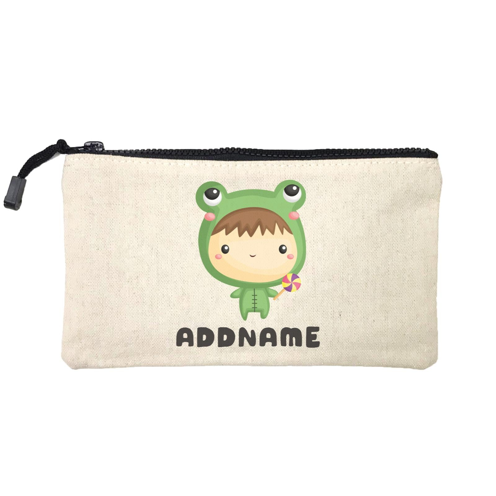 Birthday Frog Baby Boy Wearing Frog Suit Holding Lolipop Addname Mini Accessories Stationery Pouch