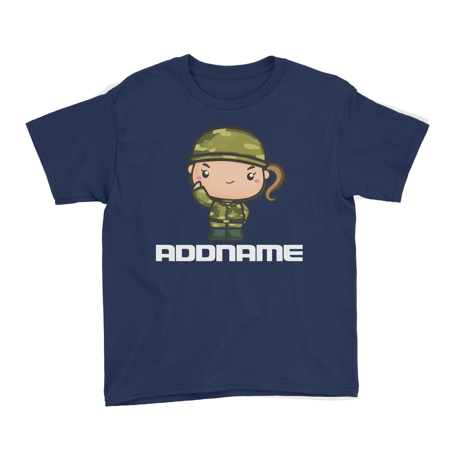 Birthday Battle Theme Army Soldier Girl Addname Kid's T-Shirt