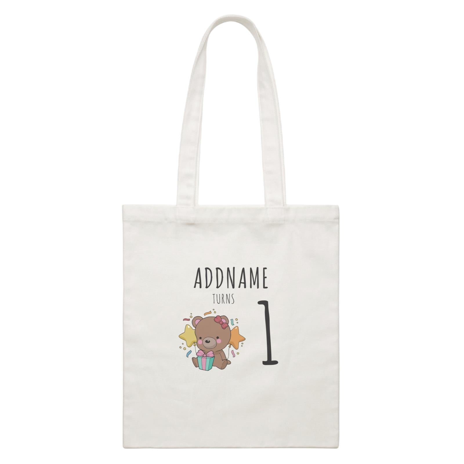 Birthday Sketch Animals Bear with Present Addname Turns 1 White Canvas Bag