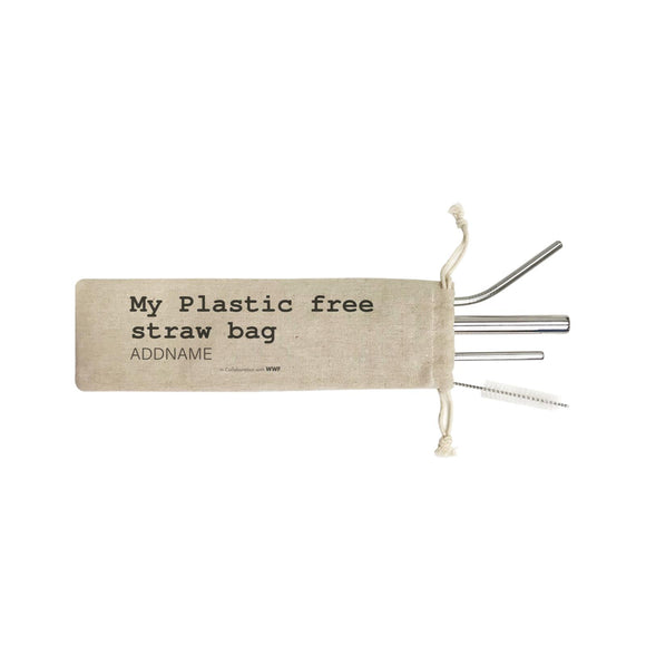 My Plastic Free Straw Bag Addname SB 4-In-1 Stainless Steel Straw Set in Satchel