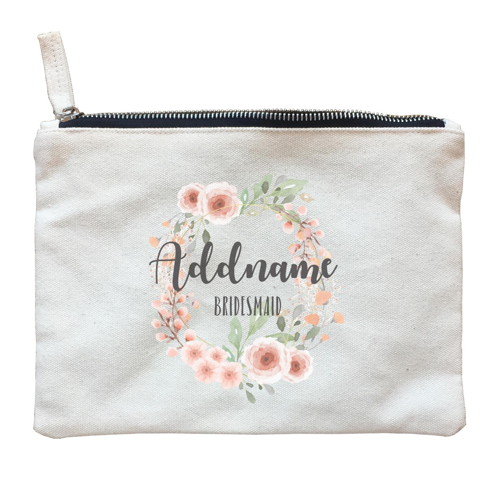 Bridesmaid Floral Sweet 2 Watercolour Flower Wreath Bridesmaid Addname Zipper Pouch