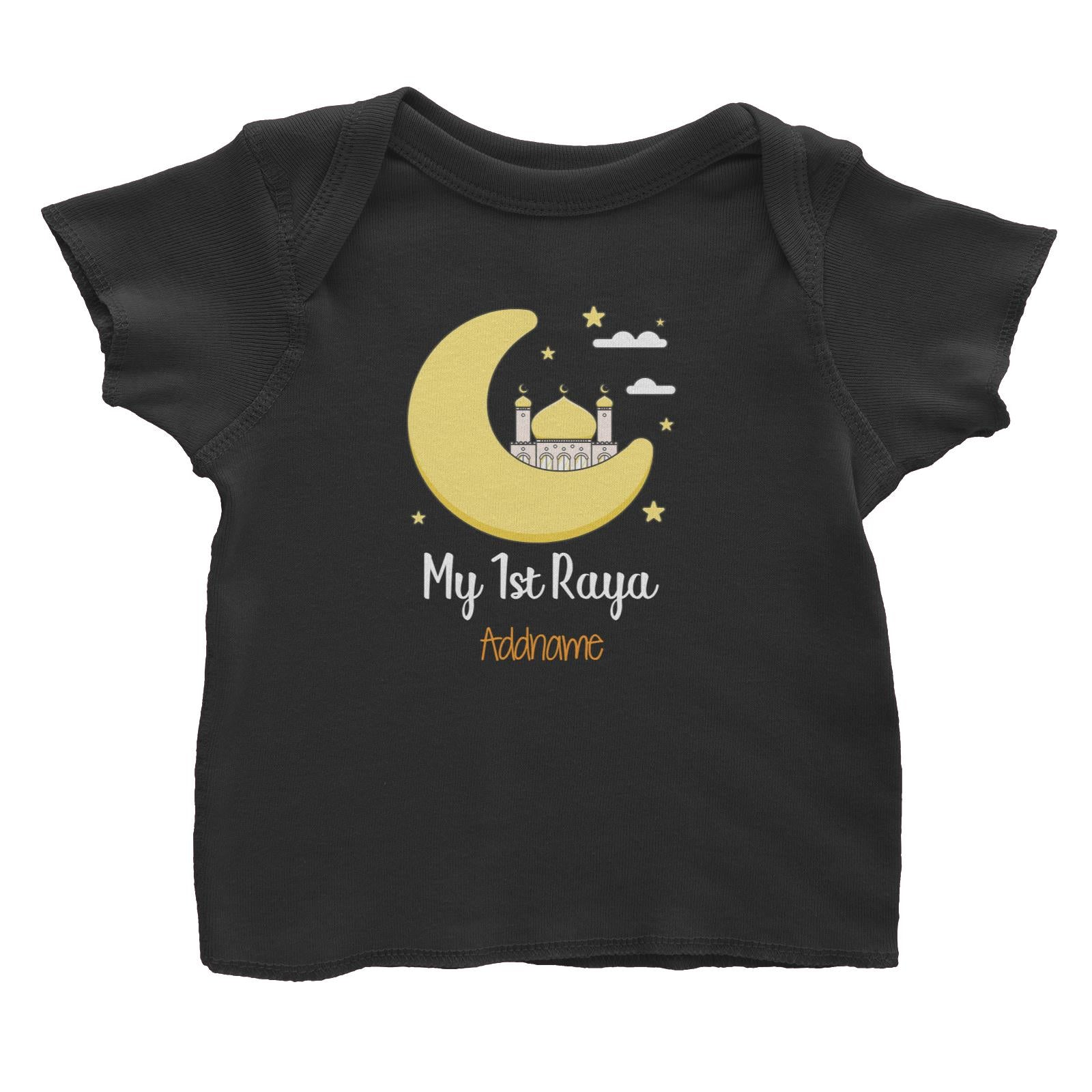 Raya Cute Mosque Cartoon Moon My 1st Raya Addname Baby T-Shirt