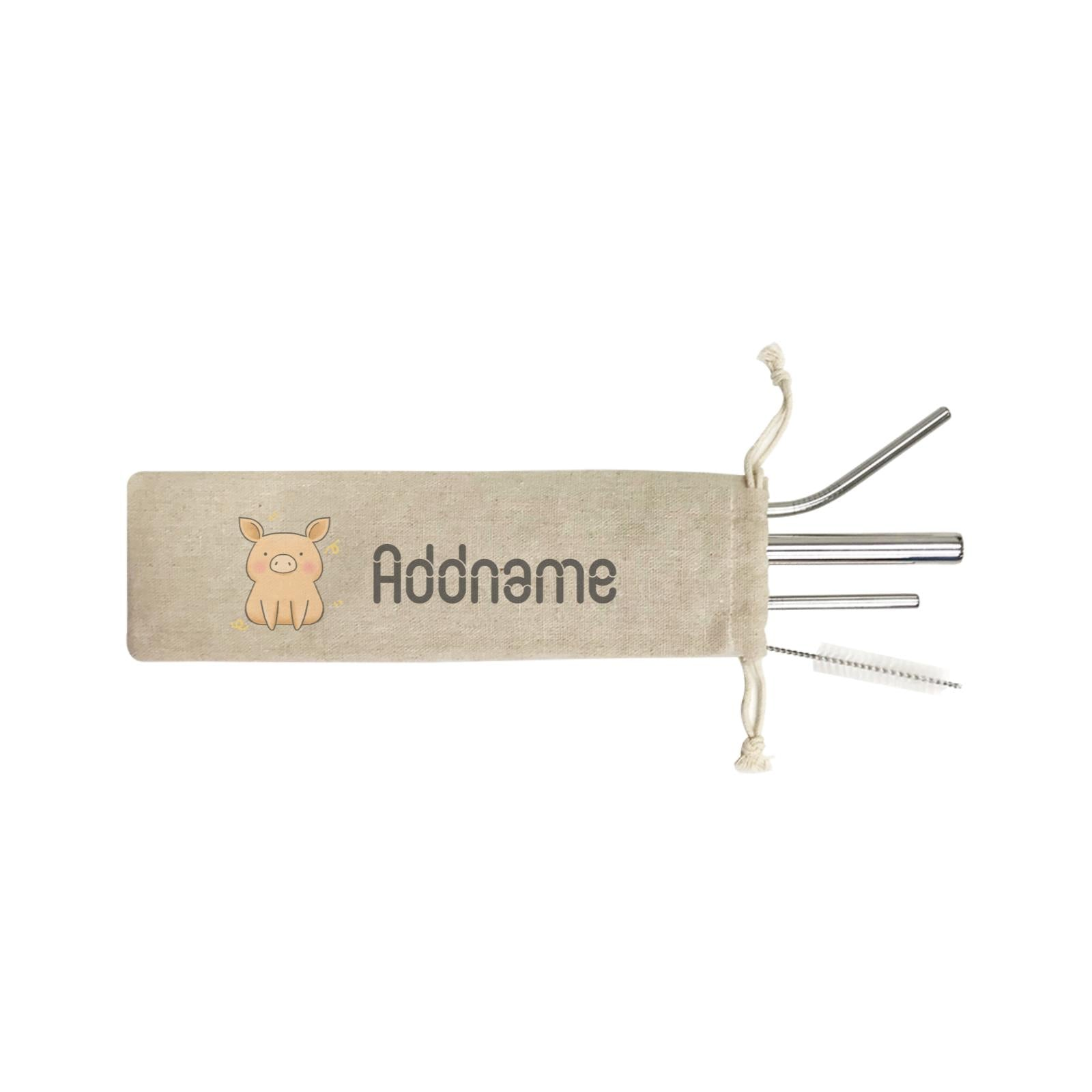 Cute Hand Drawn Style Pig Addname ST SZP 4-In-1 Stainless Steel Straw Set in Satchel