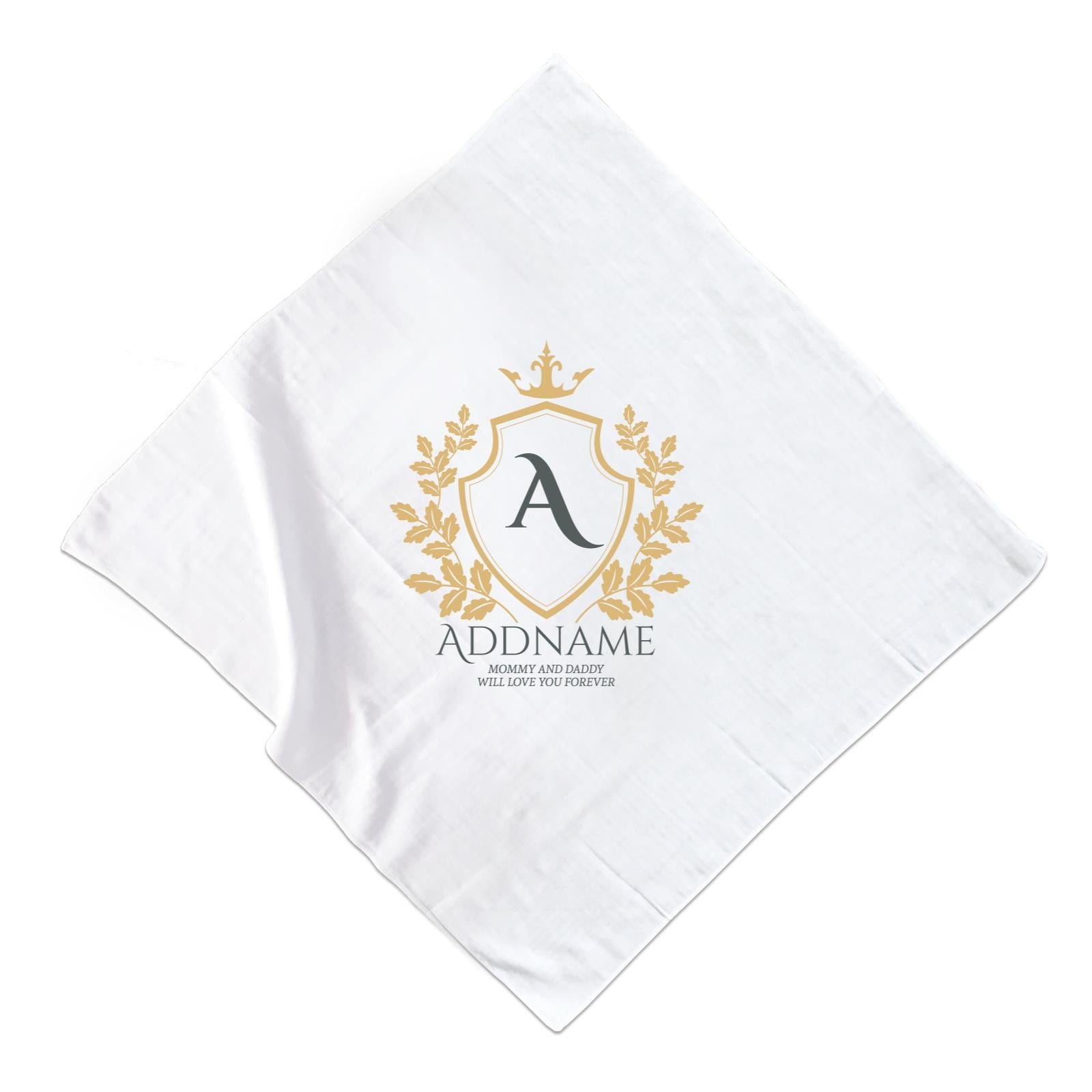 Royal Emblem Logo with Crown 2 Personalizable with Initial Name and Text Muslin Square