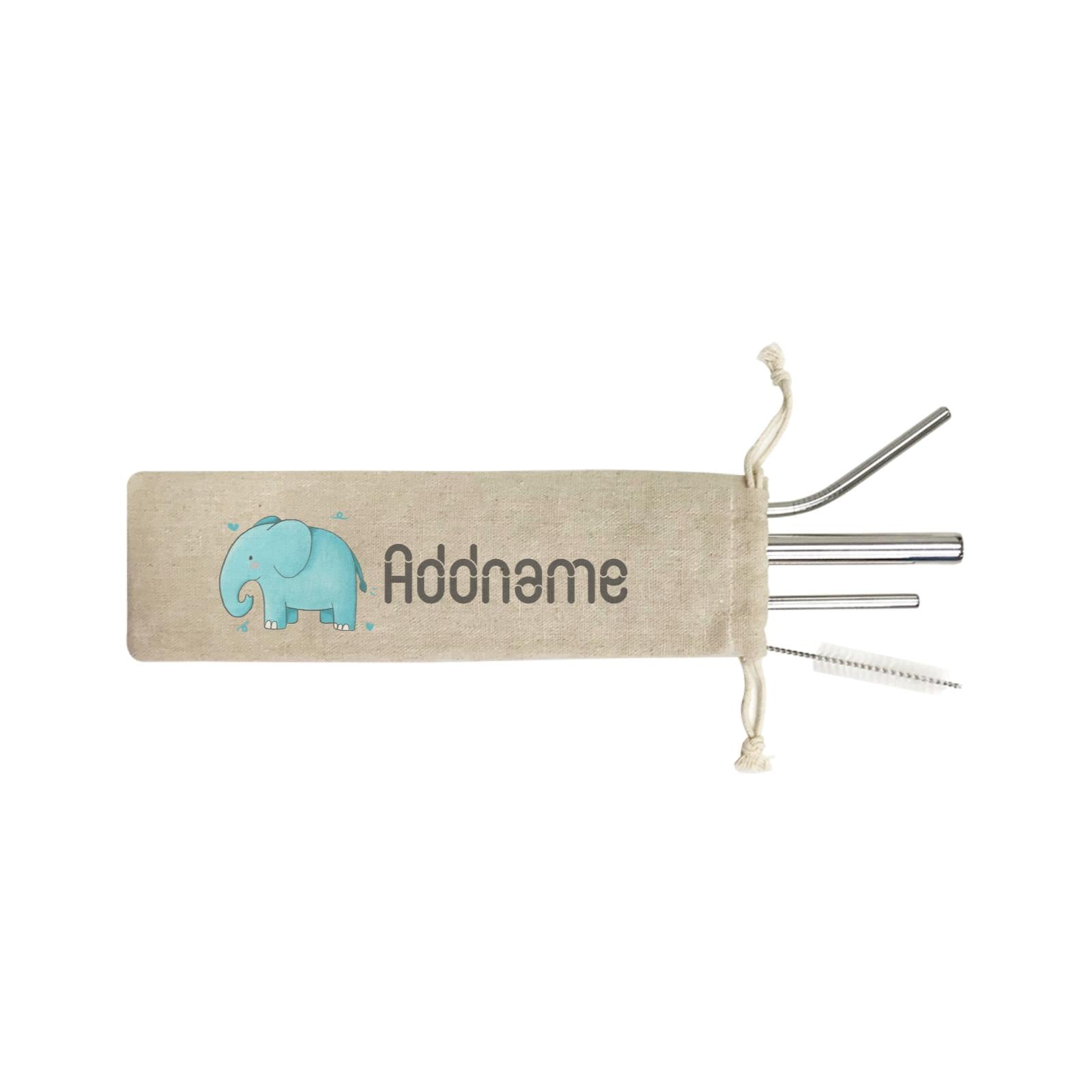 Cute Hand Drawn Style Elephant Addname ST SZP 4-In-1 Stainless Steel Straw Set in Satchel
