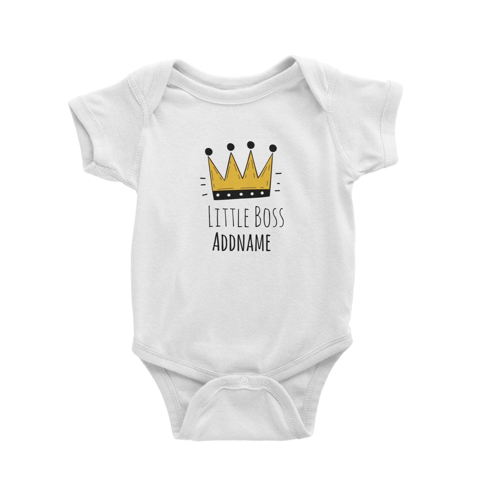 Drawn Crown Little Boss Addname Baby Romper