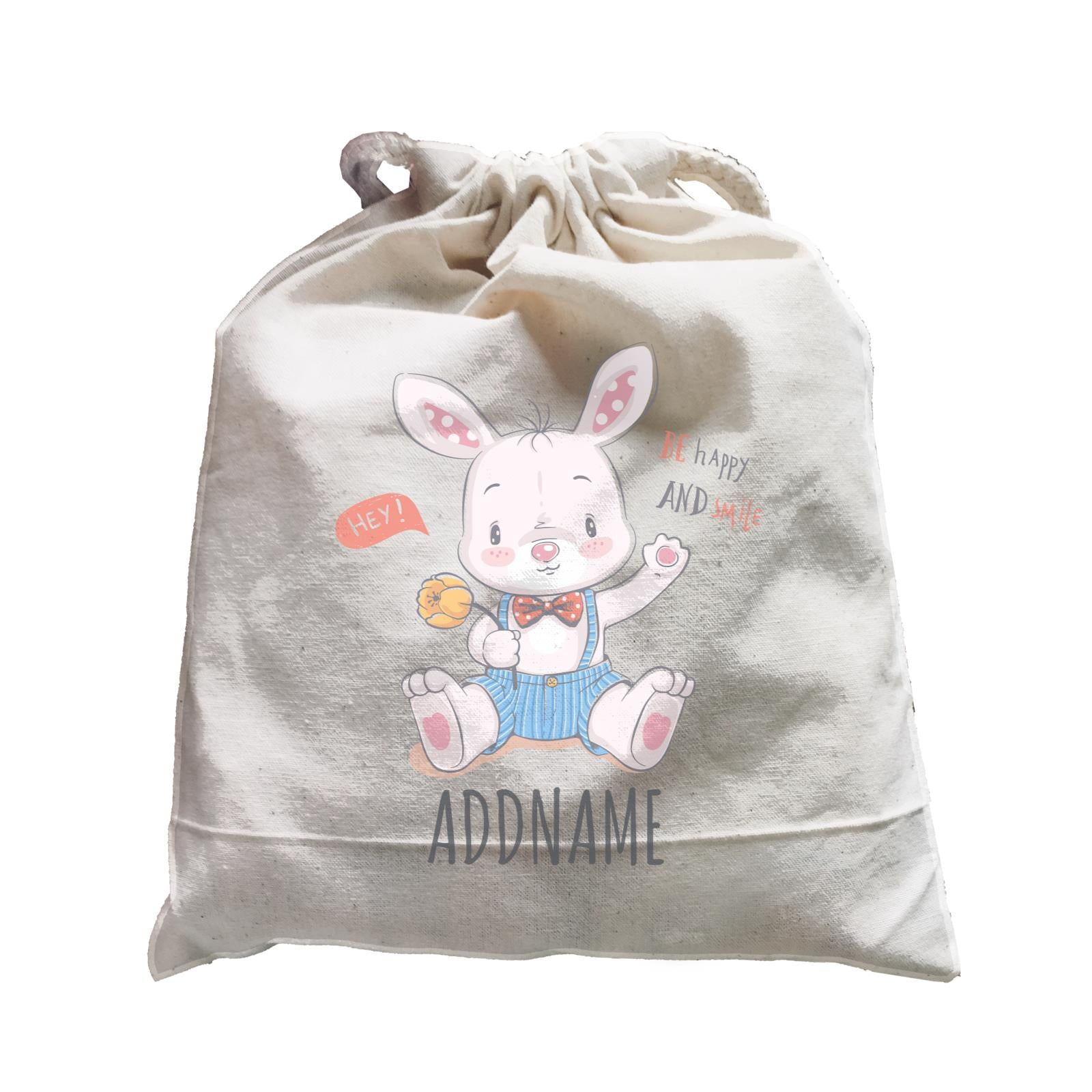 Be Happy and Smile Rabbit Satchel Personalizable Designs Cute Sweet Animal HG