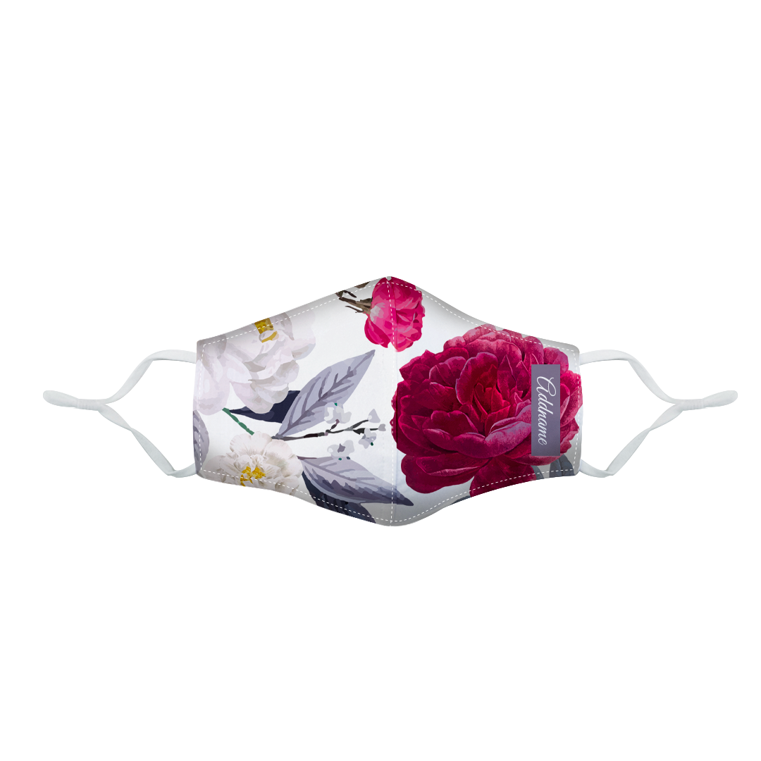 Red Pink Rose Fitted Fabric Mask