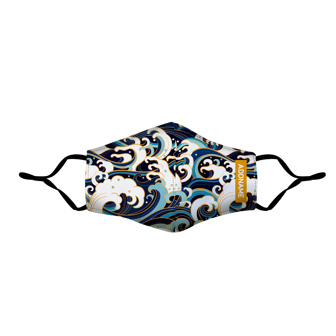 Japanese Wave Fitted Fabric Mask
