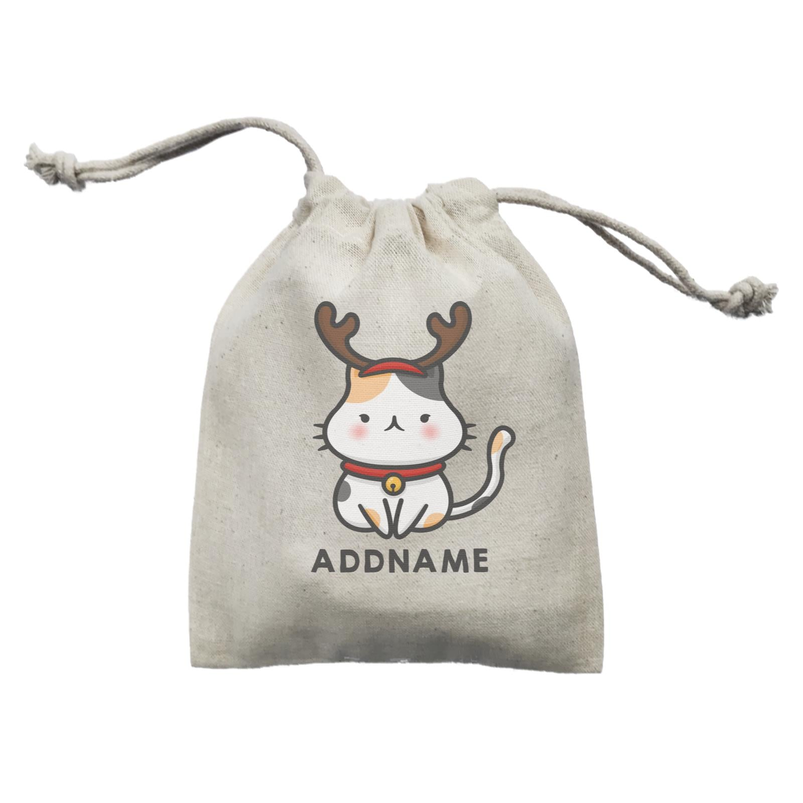 Xmas Cute Cat With Reindeer Antlers Addname Mini Accessories Mini Pouch
