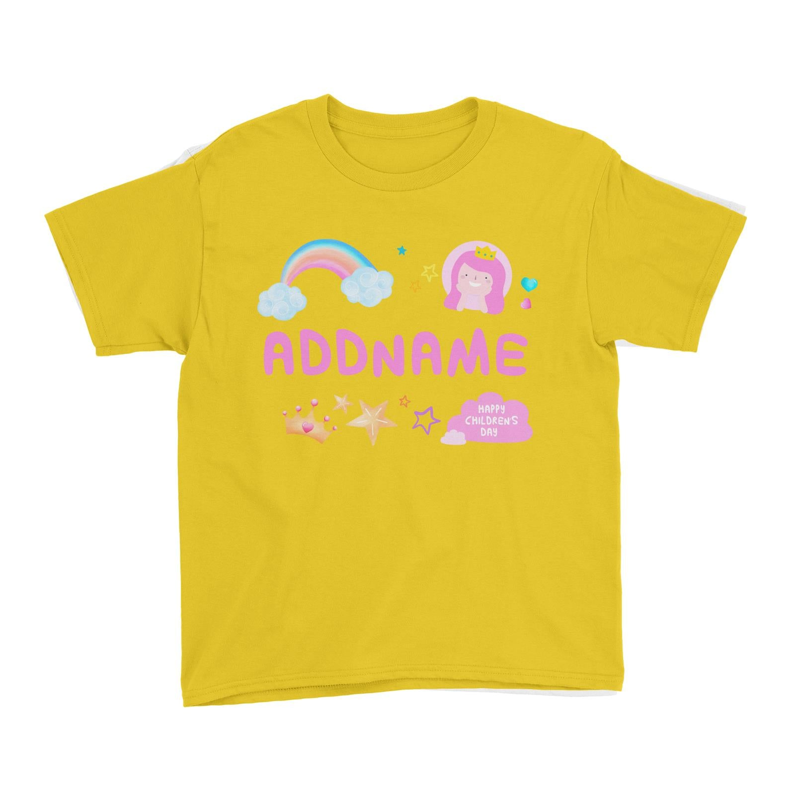 Children's Day Gift Series Cute Pink Girl Princess Rainbow Addname Kid's T-Shirt