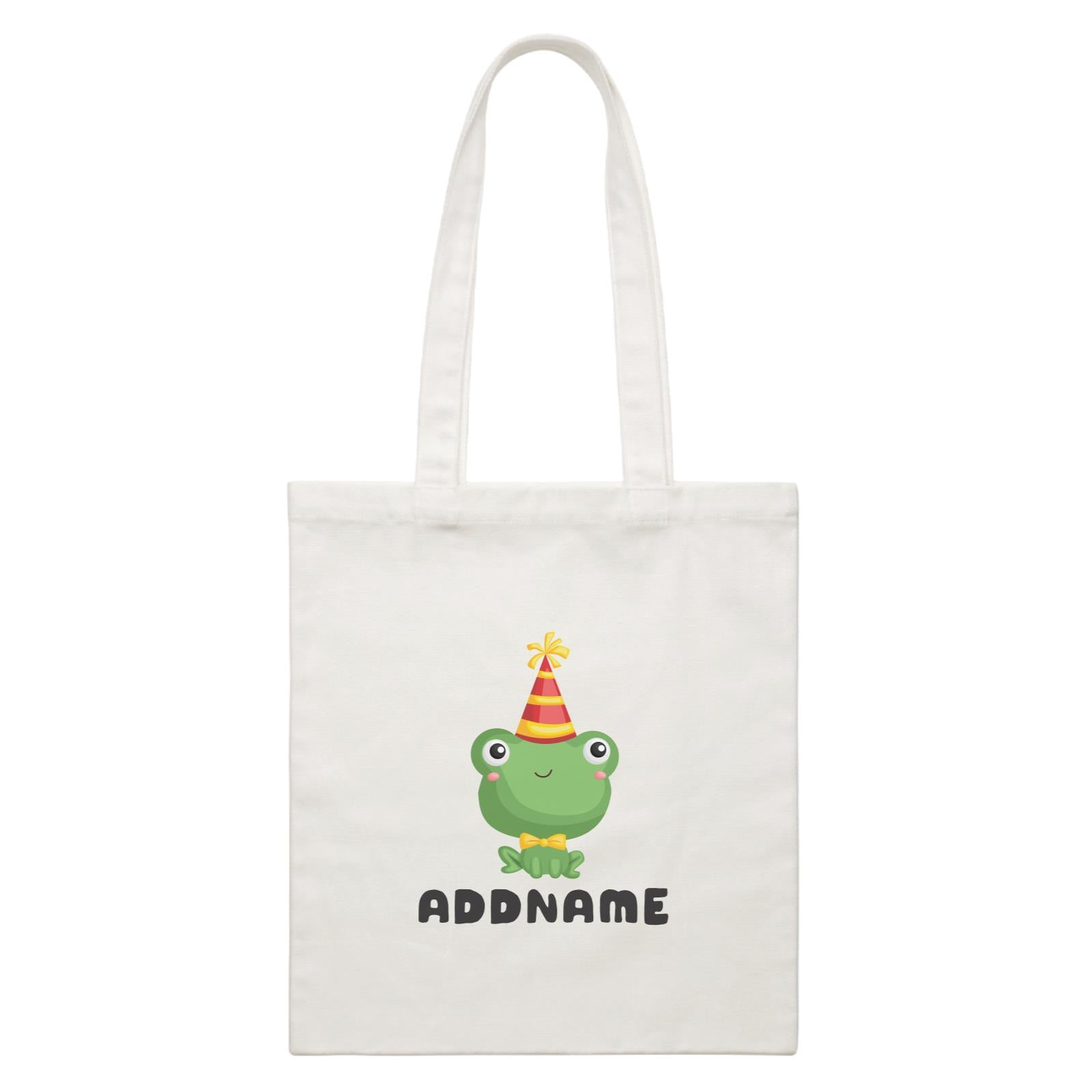 Birthday Frog Frog Wearing Party Hat Addname White Canvas Bag