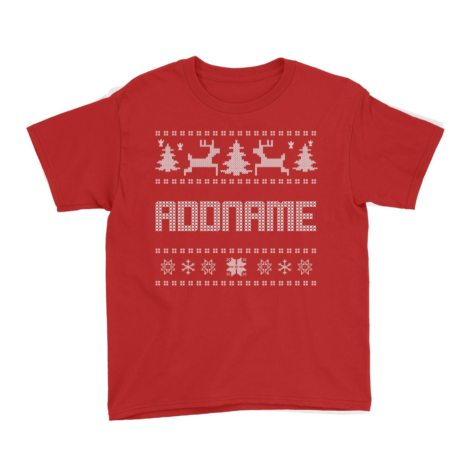 Christmas Sweater Addname Kid's T-Shirt  Matching Family Personalizable Designs