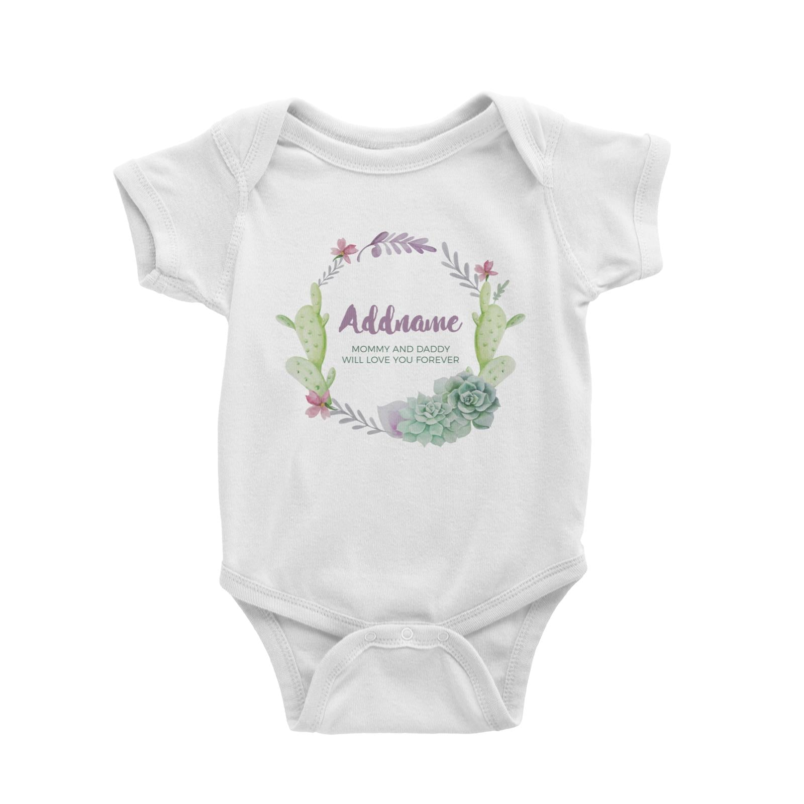 Succulent Wreath Personalizable with Name and Text Baby Romper