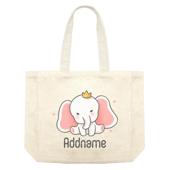 Cute Hand Drawn Style Baby Elephant with Crown Addname Shopping Bag