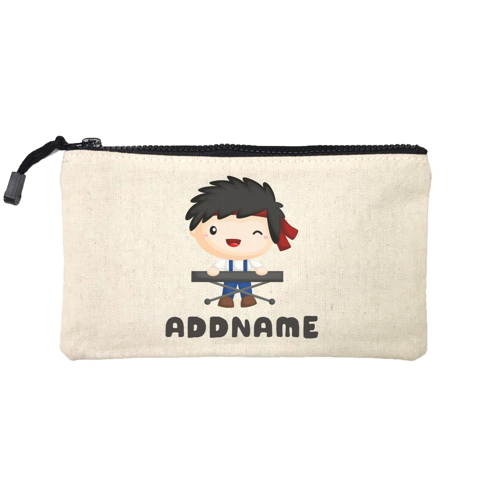 Birthday Music Band Boy Playing Electric Piano Addname Mini Accessories Stationery Pouch