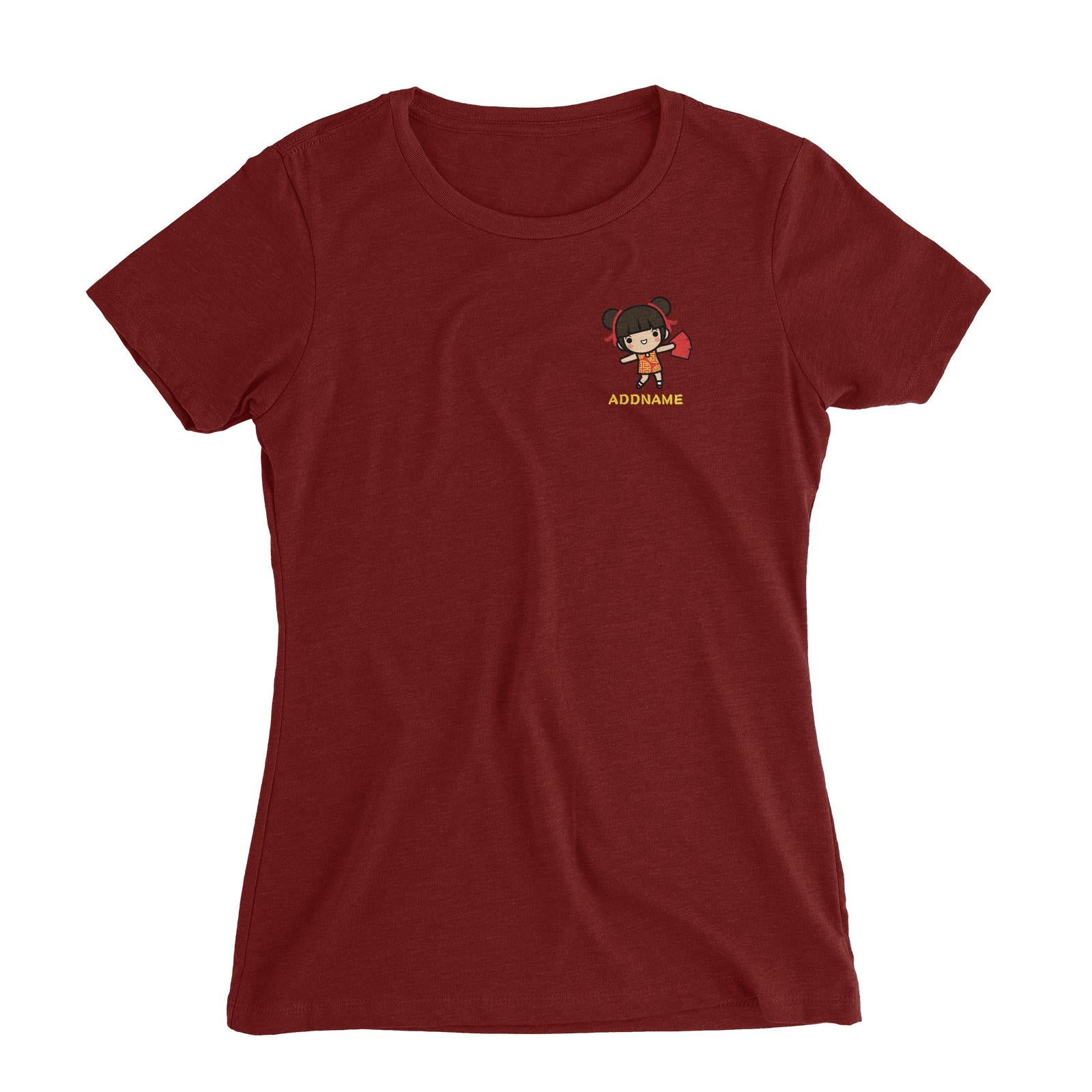 Prosperity CNY Girl with Red Packets Pocket Design Women Slim Fit T-Shirt