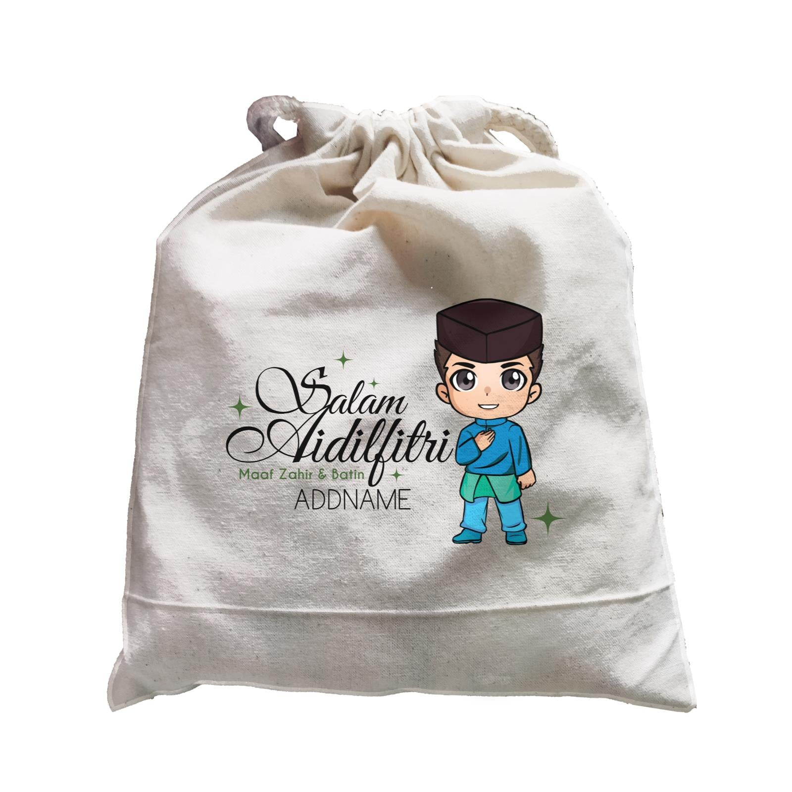 Raya Chibi Wishes Man Addname Wishes Everyone Salam Aidilfitri Maaf Zahir & Batin Accessories Satchel