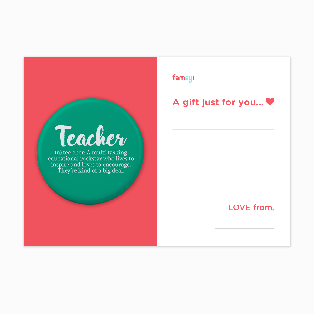 Teacher Appreciation Quote Series - Definition Of A Teacher Button Badge with Back Pin (58mm)