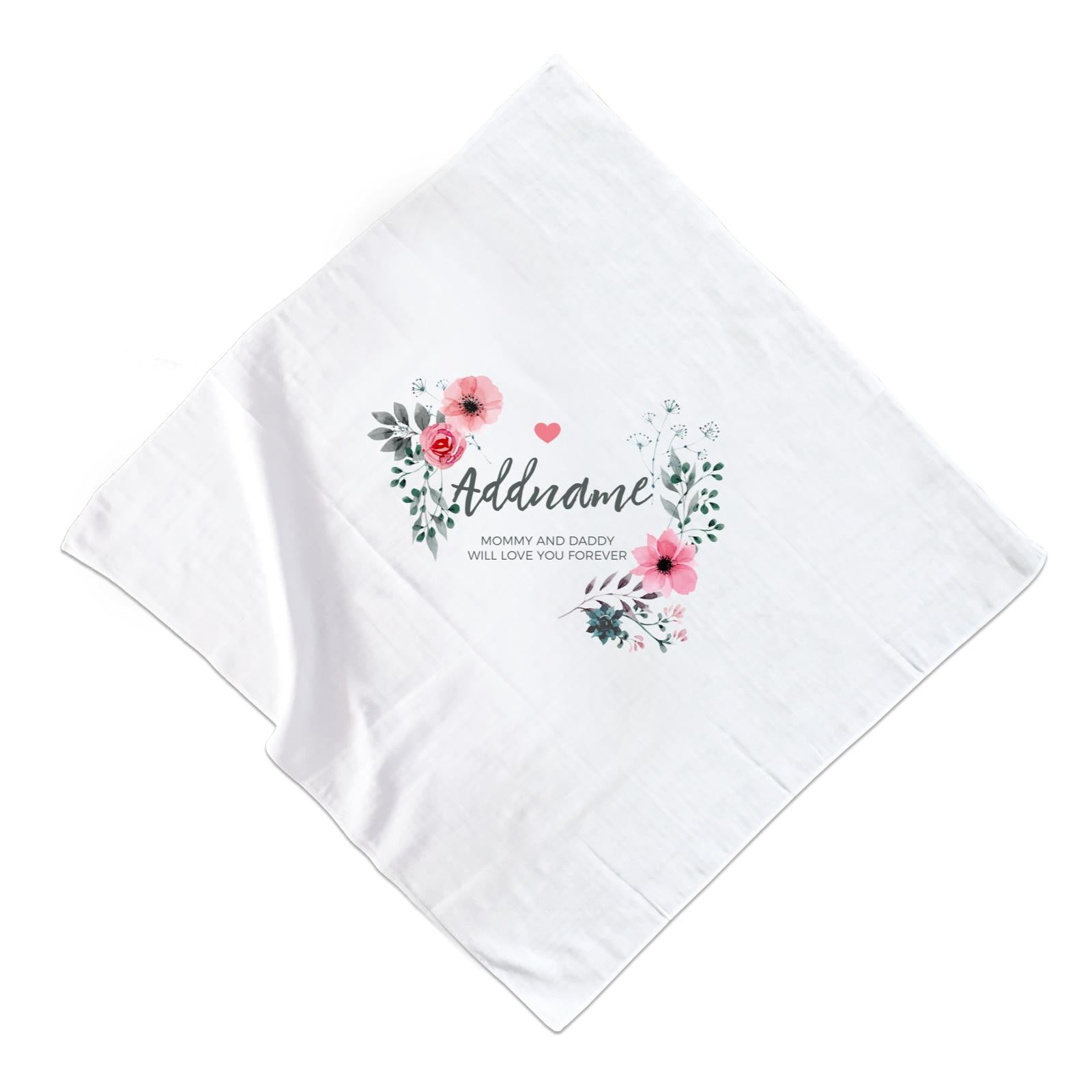Watercolour Pink Flowers and Dark Wreath Personalizable with Name and Text Muslin Square