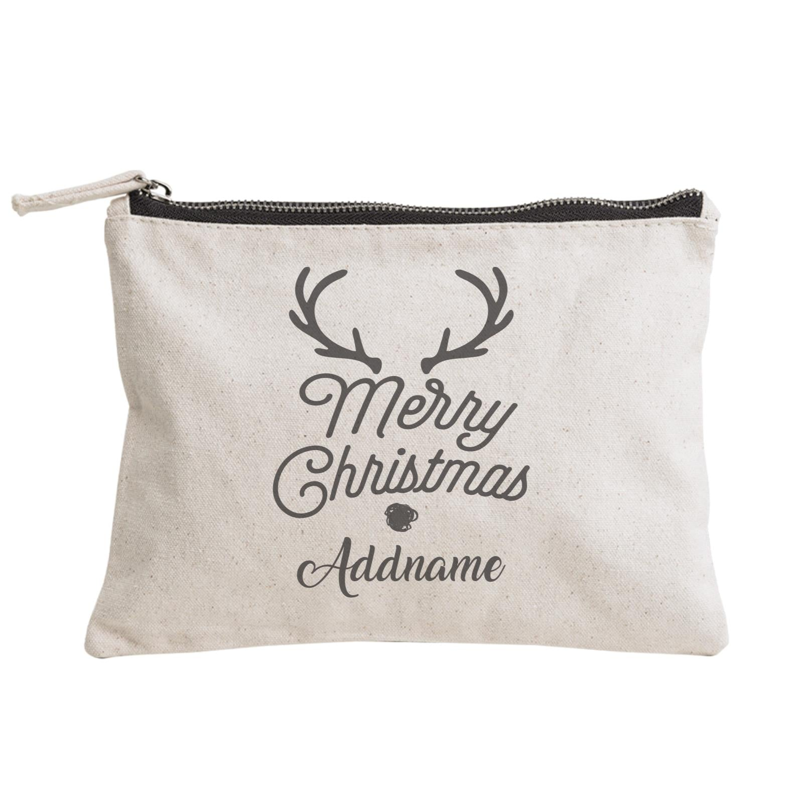 Christmas Series Merry Christmas Antler Merry Christmas Zipper Pouch