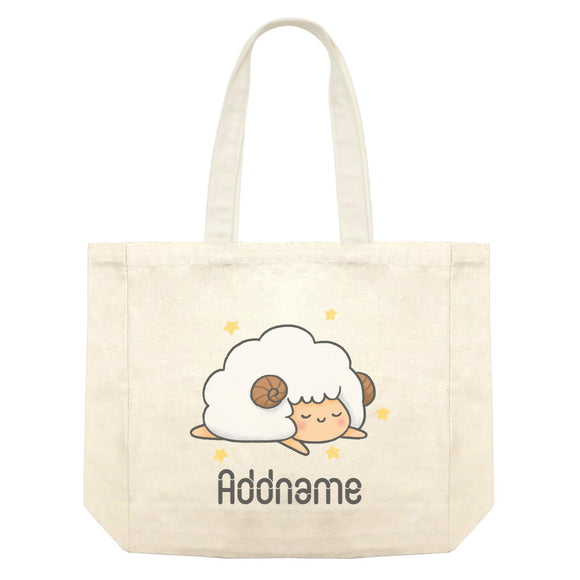 Cute Hand Drawn Style Sheep Addname Shopping Bag