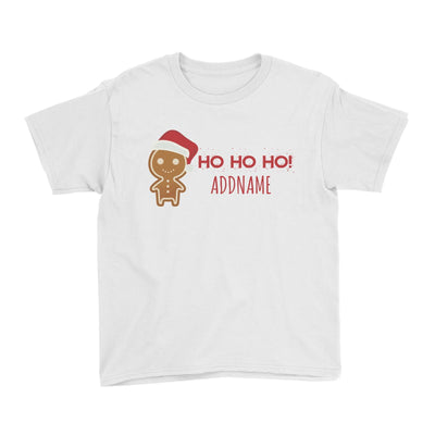 Cute Gingerbread Man with Santa Hat Addname Kid's T-Shirt Christmas Matching Family Lettering Personalizable Designs