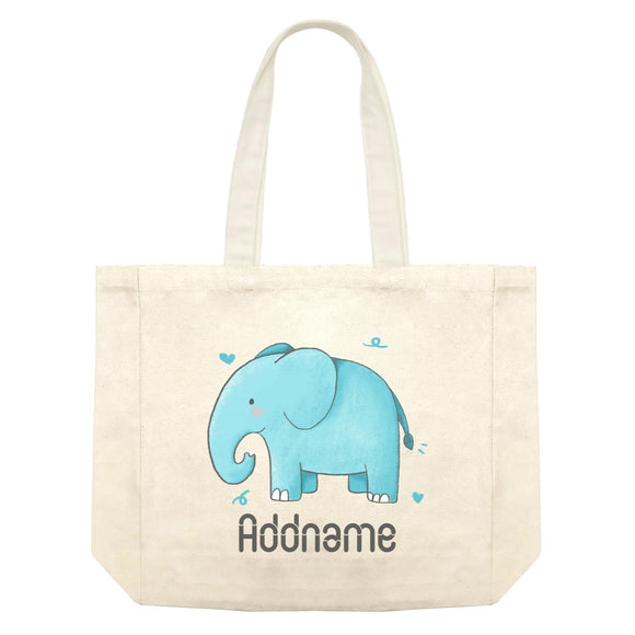 Cute Hand Drawn Style Elephant Addname Shopping Bag