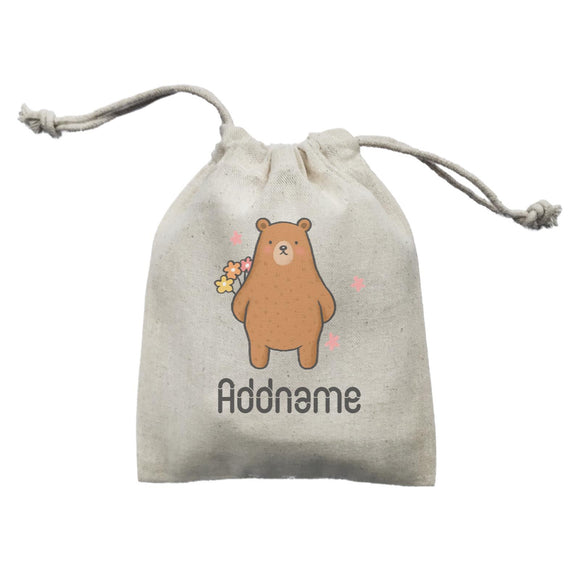 Cute Hand Drawn Style Bear with Flowers Addname Mini Accessories Mini Pouch